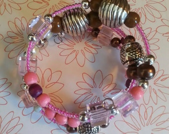 Pink and Plum Beaded Memory Wire Bracelet