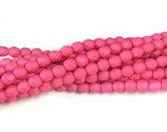 Pink Matte 4mm Fire Polish 50 beads