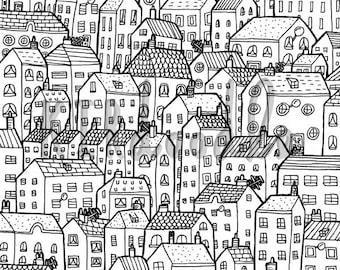 A4 'Houses' Doodle Print