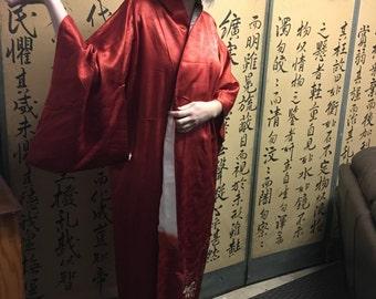 Buttery soft red silk kimono