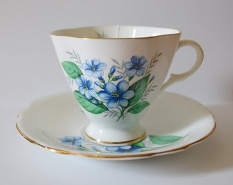 Blue Floral Vintage Teacup Candle