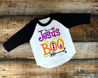 Jesus is my boo raglan - halloween apparel - halloween shirt - toddler halloween shirt - christian halloween raglan - happy halloween