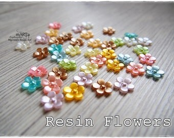 Set of 40 Mixed Resin Flowers, cabochon, scrapbooking embellishments, cardmaking, for cards, plastic flowers, rainbow colours, pastel set