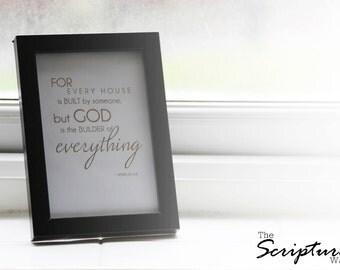 4x6 Framed Foiled Scripture - Hebrews 3:4 NIV