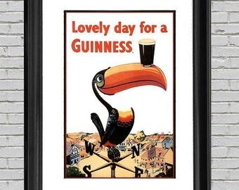 Toucan Guinness Beer Poster Art Print 12x9, Wall Art, Man Cave Art, Home Wall Decor, Guinness Beer Art, Beer Lover, Craft Beer Art, Beer Art
