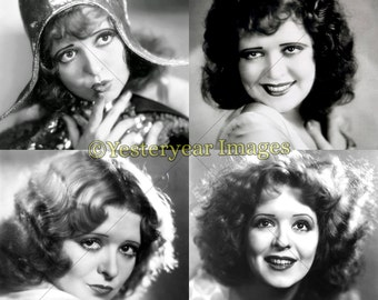 Vintage CLARA BOW Photos - Printable Digital Images - Collage Sheets - Instant Download - 3 PNG Files 4x4. 2x2. 1x1