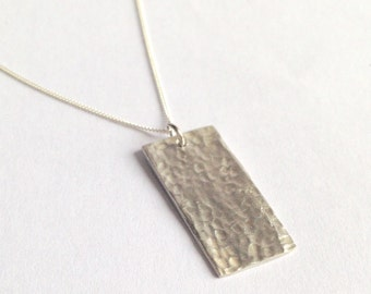 Fine Silver Rectangle Textured Pendant