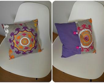 "On the ground ""Bohème"" Purple Cushion cover"
