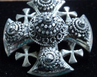 Sterling Etruscan beaded Jerusalem Cross