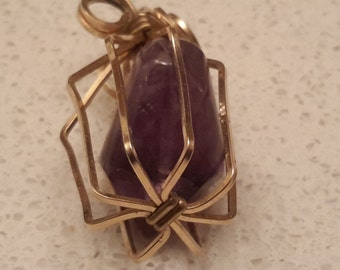 Vintage, Gold Colored Caged Genuine Amethyst Pendant, Circa 1950-60's