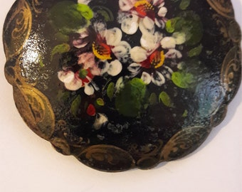 Russian vintage hand painted paper mache brooch/ signed back