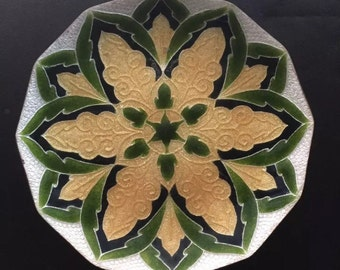 Ando Cloisonné Gold Emerald Plate