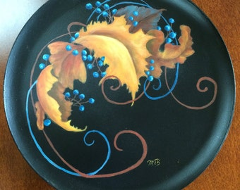 Metal Tray With Colorful Fall Leaves And Blueberries Kitchen Decor Acrylic Painting Home