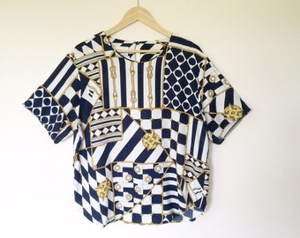 Vintage short sleeve shirt/chain pattern