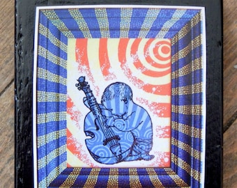 Baby with Guitar Block Mounted Print