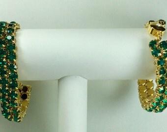 Emerald Glitterati Bracelet - Swarovski Crystals, Magnetic Clasp, Gold Plate