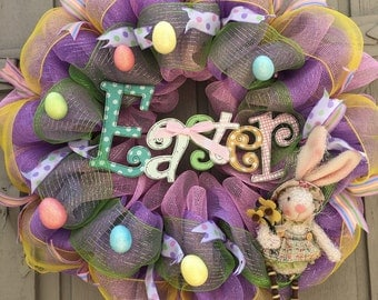 Easter Mesh Wreath with plush rabbit, Deco Mesh Wreath, Easter Deco Mesh Wreath
