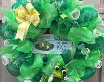 Frog Deco Mesh Wreath, Deco Mesh Wreath, Summer Deco Mesh Wreath, Summer Wreath, Frog