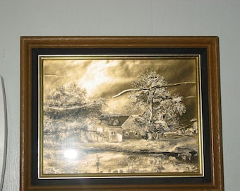 Vintage Currier & Ives Gold Foil Print Framed Country Scene Wall decor Printed in England