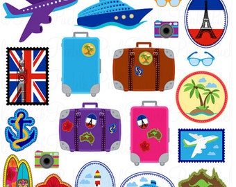 19 Various Travel Stickers -Camera, Suitcase, Plane and others