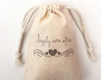 10 Happily Ever After Wedding Favor Bags  - Wedding Favor Bags - Party Favor Bags - Happily Ever After Favors - Rustic Wedding Favor Bags