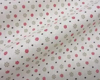 cotton fabric florets dots ecru pink taupe patchwork