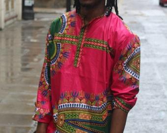 African Top - African Shirt - Dashiki Shirt - Hamed Top - Festival Shirt - Wax Shirt Mens - Festival Clothing - African Print Shirt