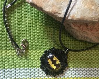Floral Batman necklace