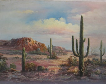 """Original Desert Art Collection Oil Painting On Stretched Canvas 36""""-24"""" Signed"""