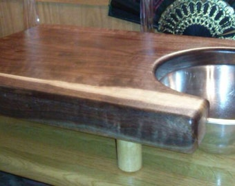 Solid Wood Cutting Board with Stainless Steel Bowl
