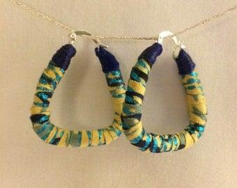 Printed fabric trapezoid hoop earrings