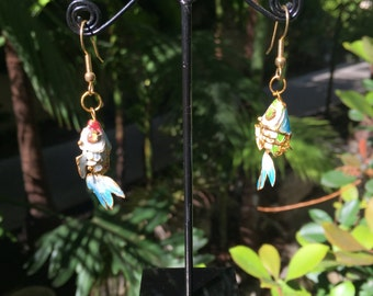 Cloisonné Fish Earings, Multi Color Vintage Cloisonné