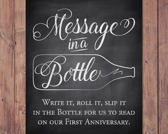 Rustic Wedding Guest Book Sign - Message in a bottle anniversary printable wedding sign - 8x10 - 5x7 - 11x14