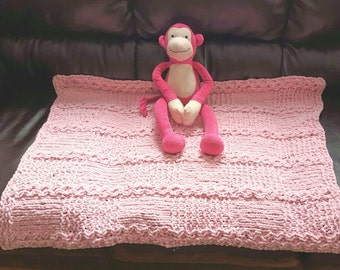 Hand Knit Baby Blanket, Pink Blanket,Chunky Knit, Soft, Girl Blanket, Baby Afghan