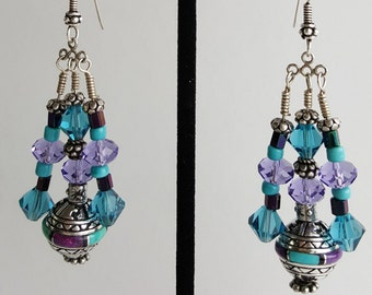 Purple and Blue Turquoise Inlay and Swarovski Crystal Sterling Silver Earrings