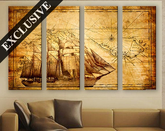 Large H Wall Decor : Large wall decor canvas set of panel art extra