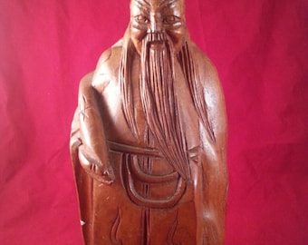 Oriental wooden figure, hand carved, from the 1970's/Fathers Day