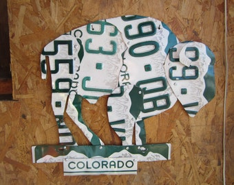 Colorado Buffalo Folk Art Outsider style made from License Plates Outdoors Animal Art