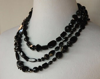 long necklace in black Bohemian glass