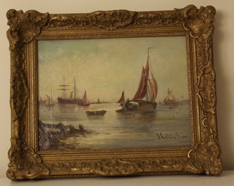 Marine oil painting 19th century (seascape). All original. Signed.
