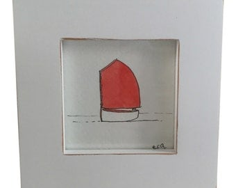 "A 3"" x 3"" framed watercolor of a cat boat, in any color and customizable"