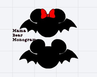 SVG Halloween Bat Mickey and Minnie--Instant Download--Svg Only
