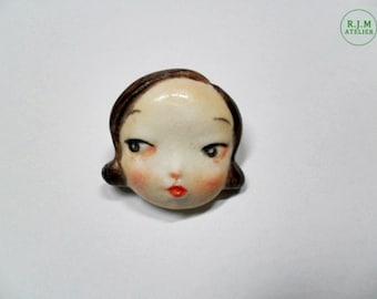 FACE BROOCH,small lips girl brooch,