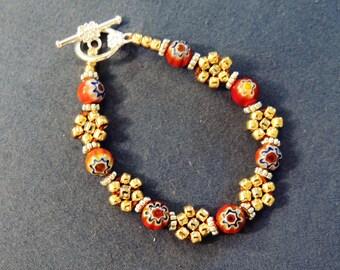 Millifiiori and Seed Bead Bracelet