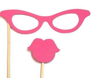 Photo Booth Props - 2PC Glasses & Lips Party Photo Booth Props