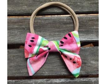 Hair bow-Headband-baby headband-small bows-sailor bow-baby bows-nylon headbands-one size fits-baby shower gift-newborn headband-tiny bows