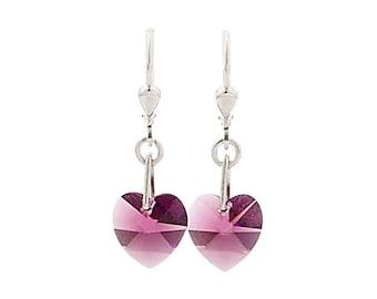 SWAROVSKI Mini Heart Sterling Silver Earrings in Amethyst