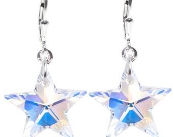 Wedding / Prom / Birthday SWAROVSKI Crystal Star Sterling Silver Earrings in AB