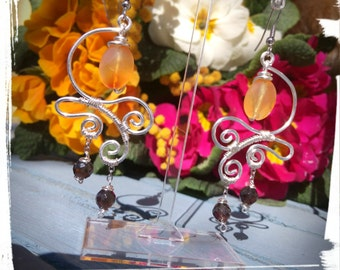 Silver plated earrings with Carnelian and smoky quartz
