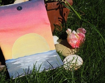 hand painted wallet sunset